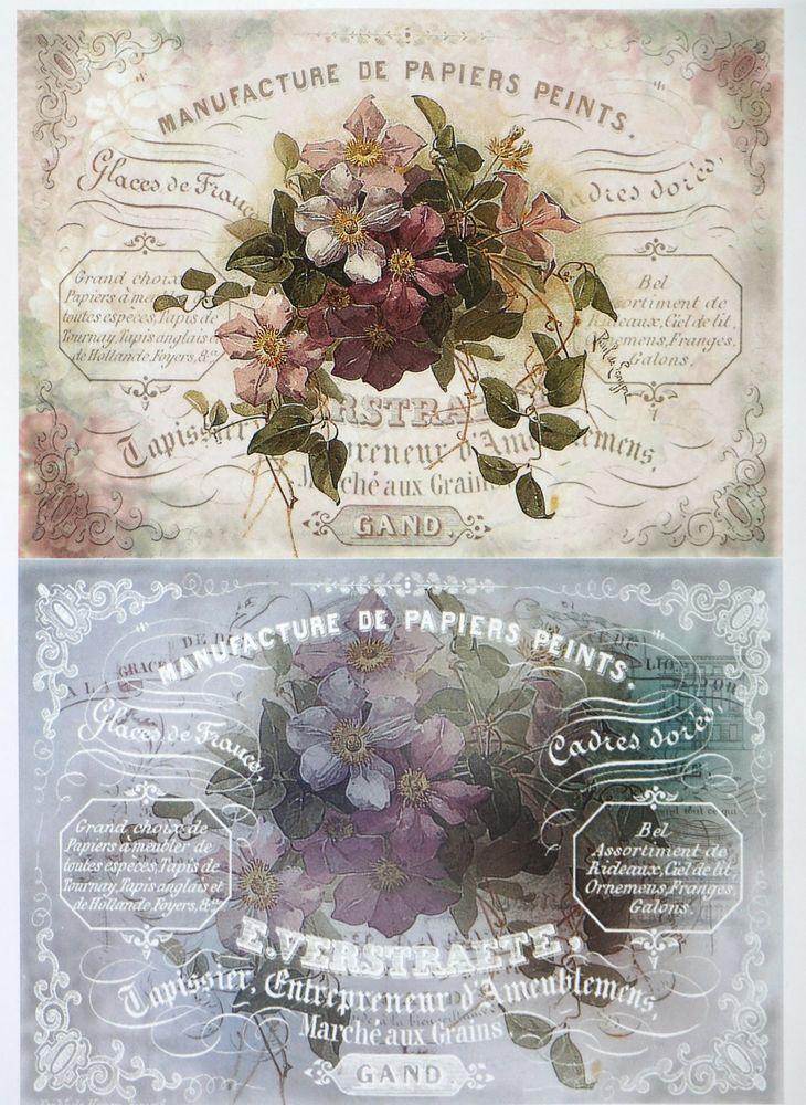 A/4 Classic Decoupage Paper Scrapbook Sheet Vintage Flower Bouqets