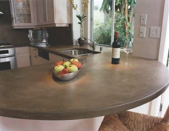 concrete: Polish Concrete, Kitchens Ideas, Breakfast Bar, Stained Concrete, Kitchens Countertops, New Kitchens, Counter Tops, White Cabinets, Concrete Countertops
