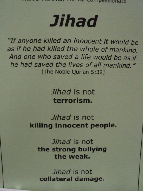 Jihad is exactly KILLING INNOCENT PEOPLE, and what this is really saying is that only those who follow Islam are innocent. The rest of the world are infidels.  Peace will only come when there are no more infidels in the world. READ THE KORAN instead of believing these lies!