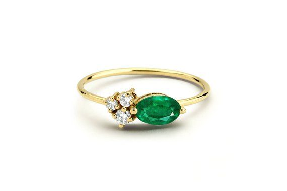 Details about  /Green Emerald Diamond Stacking Ring 14k Yellow Gold May Birthstone Promise Band