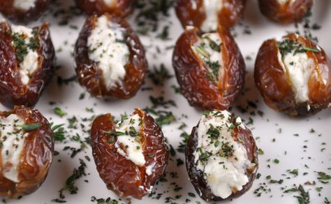 Dried Dates Stuffed with Goat Cheese and Almonds | All Four Burners