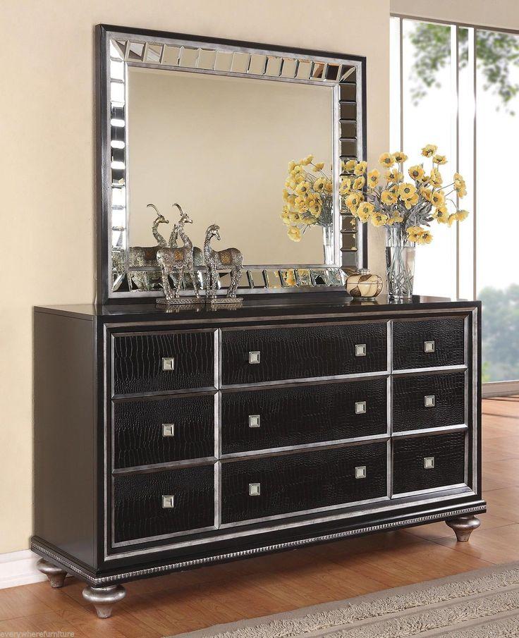 Wynwood Glam Black Mirrored King Size Mansion Bed Bedroom
