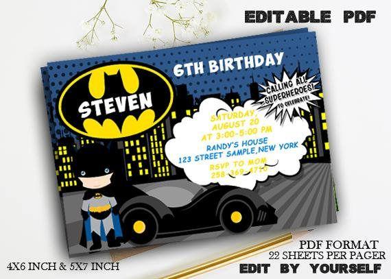 Batman Invitation Download Editable Batman PDF Template