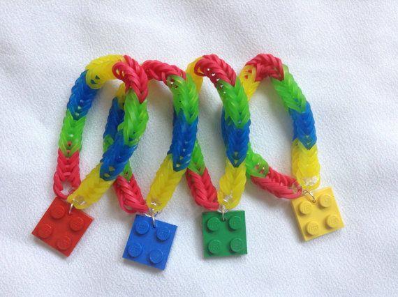 Anniversaire cotillons butin sac party pack de bracelets rubber band 4 métier à tisser pour une fête sur le thème de bloc de construction jouet briques