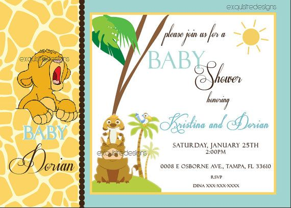 30 best lion king baby shower images on pinterest lion king baby lion king invitation by uniqueinvite on etsy filmwisefo Images