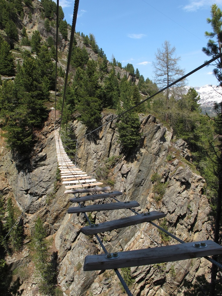 Who dares to cross the bridge? :-) New via ferrata in oetztal valley.