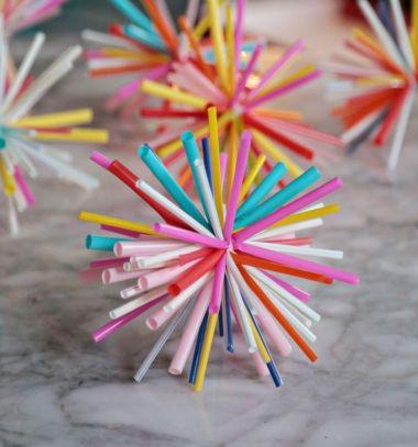DIY starburst drinking straw ( Christmas ) ornament // Egyszerű gömb karácsonyfadísz szívószálakból // Mindy - craft tutorial collection // #crafts #DIY #craftTutorial #tutorial