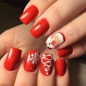 дизайн ногтей, nail-дизайн, маникюр на новый год, красный  маникюр, маникюр с дедом морозом