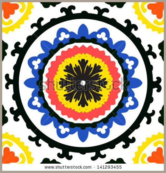 Suzani, vector seamless ethnic pattern with Uzbek, Turkish and Kazakh motifs in bright vibrant colors Texture for web, print, wallpaper, home decor, summer fall fashion textile, fabric, ceramic tile
