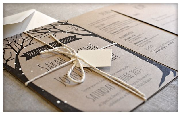 A lovely rustic wedding invitation perfect for a wintery wedding. Digitally printed on 300gsm Kraft card and hand finished with white painted dots of snow and a lovely natural string tie with a pretty cream label for you to write your guests' names on.   SAMPLE – £3.50 (inc. postage) 5×7 inch Invitation card 5×7 …