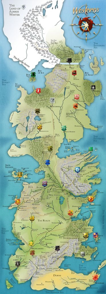 Map of Westeros (best viewed at original size www.flickr.com/photos/dedkenny/6597251005/sizes/o/in/phot...), from 'A Song of Ice and Fire'. The House locations on this map are at the beginning of 'A Clash of Kings' and after 'A Game of Thrones'. Better views of the House's individual crests may be view here www.flickr.com/photos/dedkenny/sets/72157628401372949/ More House crests will be made and start popping into it. (Last update 03/31/2012)