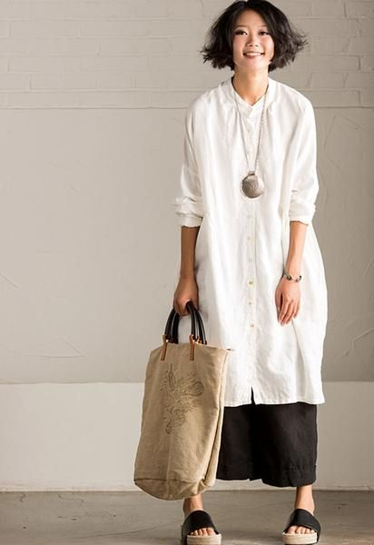 Art Casual Loose Big Size Long Linen Dress Shirt Women Tops C8923A