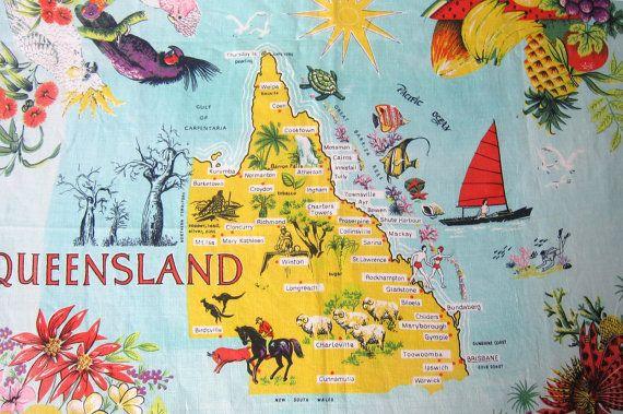 Vintage retro 1960s Australiana souvenir Queensland by evaelena, $33.00