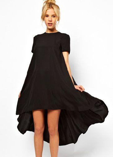 Black Short Sleeve Split High Low Dress
