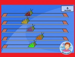 Slakkenrace op het digibord met kleuters, begrippen als snel, langzaam, voor, achter aanleren, kleuteridee