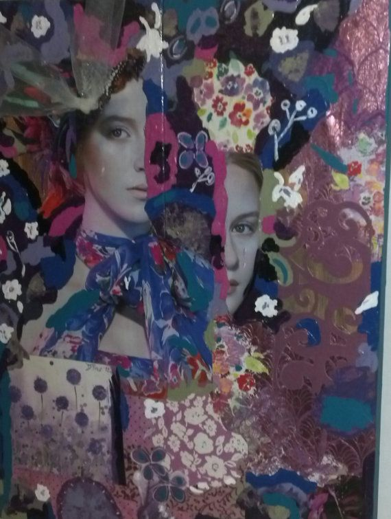 Original Mixed Media Collage Art on wood  by MixdMediaArtbyDebbie, $185.00