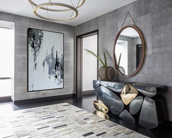 Minimalist Art Canvas Painting Black And White Wall Art Etsy Contemporary Hallway Hallway Decorating Hallway Designs
