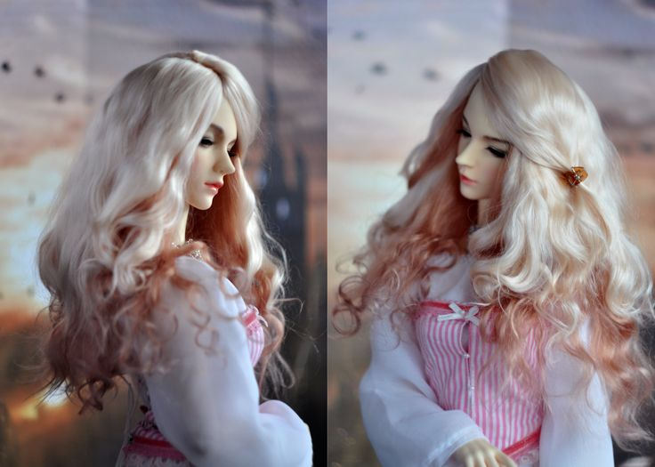 """Long BJD Wig Angora - Strawberry Marshmallow (two colors) 7-8"""" 8-9"""" 9-10"""" FREE SHIPPING by BlueberryStyle on Etsy"""