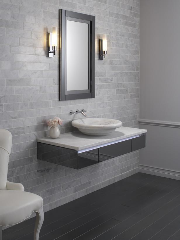 Image result for bowl sink on floating shelf