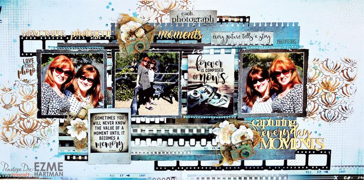 Double-page layout by Ezme Hartman created with the Penelope Dee Photogenic Range.