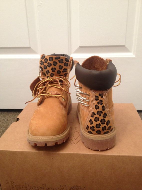 Spiked, Painted Cheetah Print Timberland Boots on Etsy, Sold