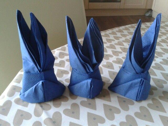Easter bunny folded napkins