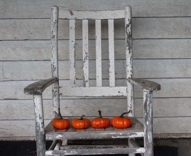 Fine Art Photography 8x10 Photo Print Rustic Rocking Chair and Orange Pumpkins, Fall Decor, Farm House Decor. $25.00, via Etsy.