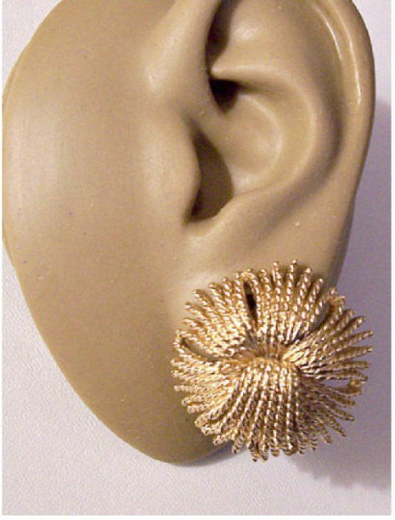 9e849f955 Monet Cordelia Braided Twisted Tassels Clip On or Pierced Post Earrings  Gold Vintage Large Round Thread Spray Big Buttons Comfort Paddles