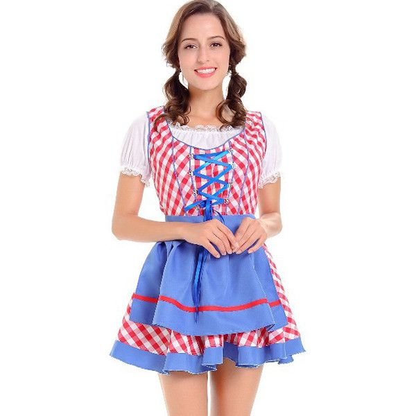 Red German Oktoberfest Maid Dress Beer Girl Sexy Costume ($39) ❤ liked on Polyvore featuring costumes, red, sexy adult costumes, sexy saloon girl costume, sexy halloween costumes, sexy costumes and sexy maid halloween costume