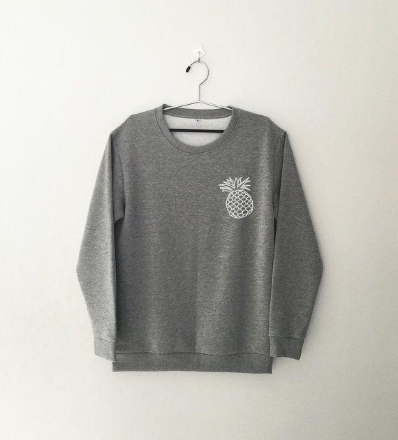 Pineapple sweatshirt gray crewneck jumper sweater by CozyGal