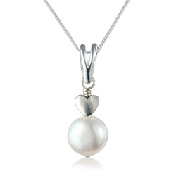 white pearl pendant with sterling silver heart. Only £20