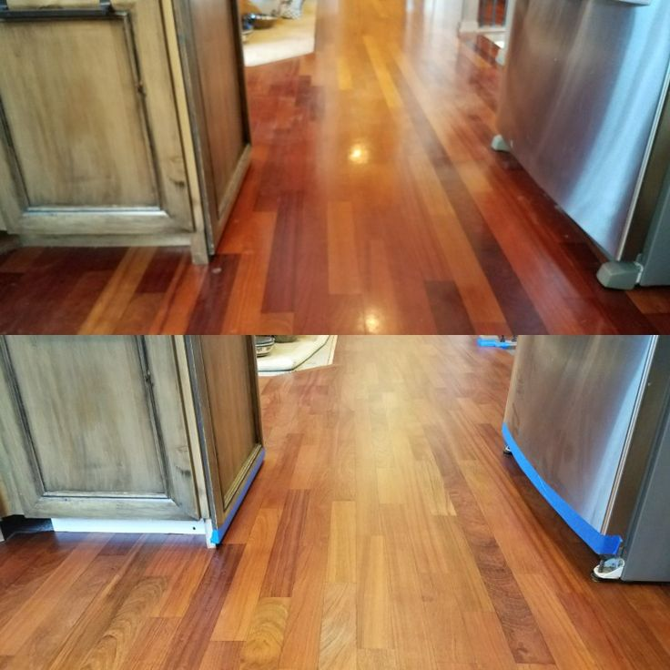 [ top ] 3 1/4 inch Brazilian Cherry Hardwood. Aged with semi gloss finish.  [ Bottom ] What it looks like after a complete sanding. Sealed with  Bona Drifast Sealer. The finish used was Bona Traffic Satin. The sanding, seal & finish was done by: Mid Valley Hardwood LLC. Battle Ground, Wa 98604