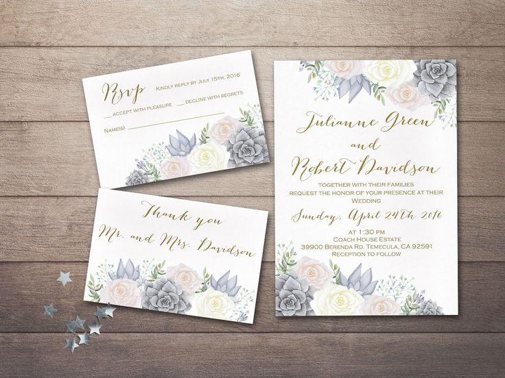 Floral Wedding Invitation Printable, Succulent Wedding Invitation, Printable Wedding Invitation, Blush Pink Gray Ivory Boho Wedding Invite - pinned by pin4etsy.com
