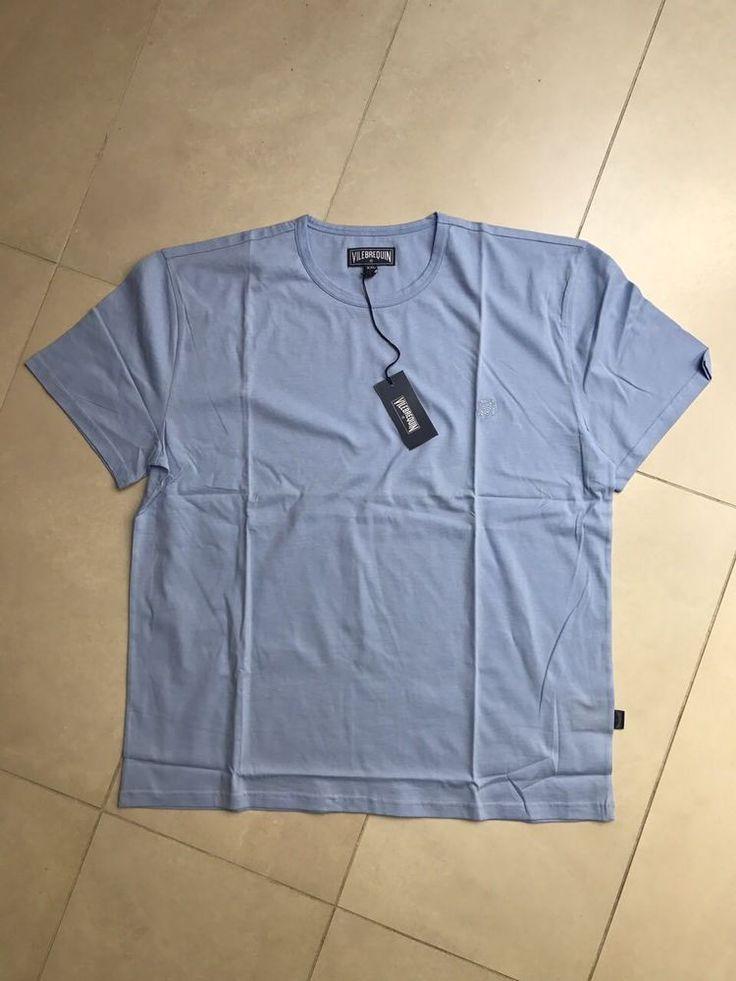Vilebrequin Casual Men New Color Blue T-shirt Round Neck Chest Turtle size XXL #Vilebrequin #BasicTee