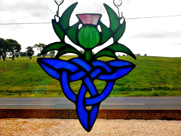 Celtic Thistle - handmade stained glass suncatcher