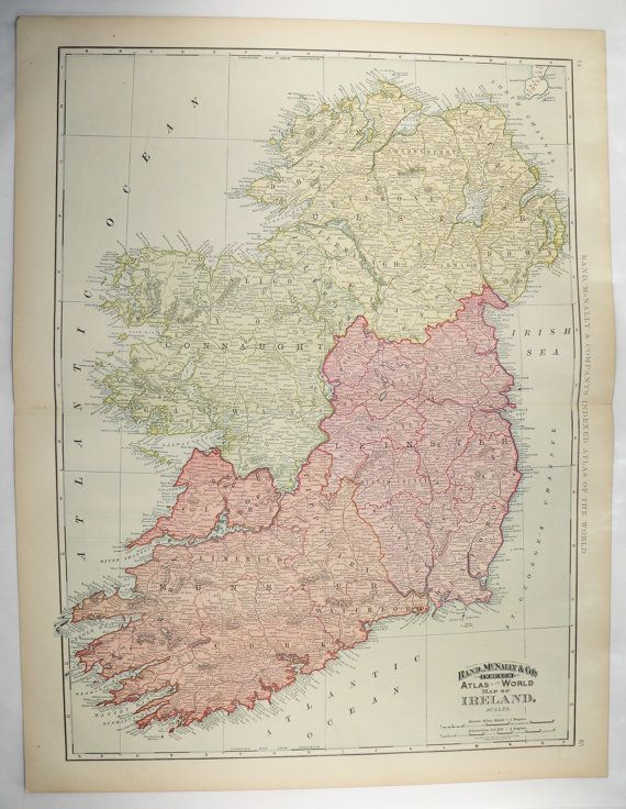 Man Cave Gifts Ireland : Antique ireland map large vintage wall of