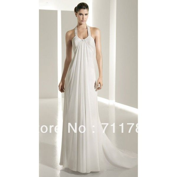 Wedding Dresses With Straps Not White Hot Cool Halter Empire Wasit Sheath Column Chiffon Court Train Satin Beach Bridal