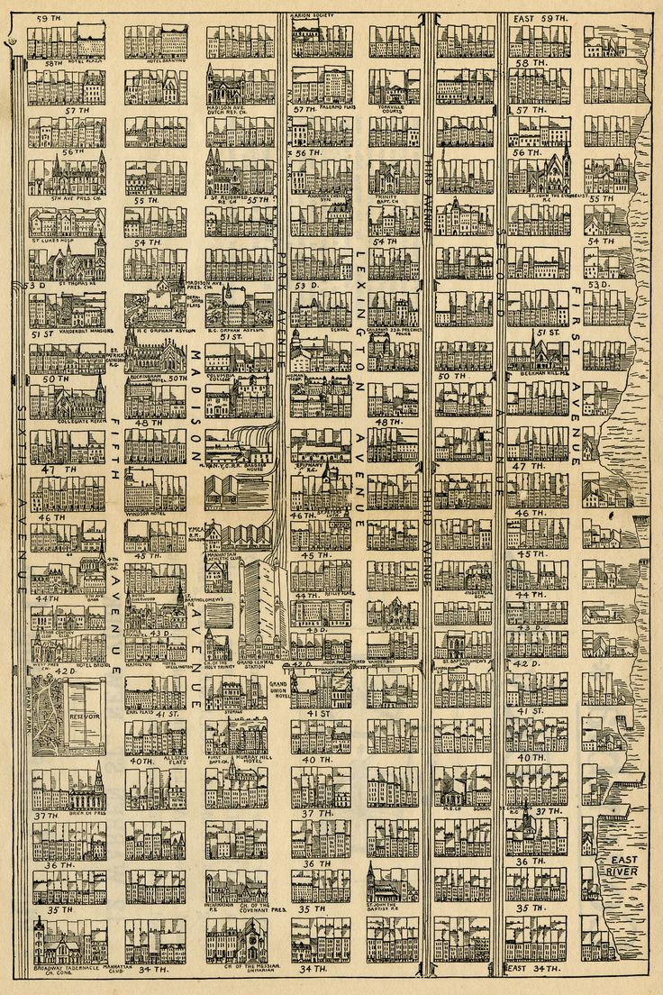 Map of Midtown Manhattan, from 34th Street to 59th Street and from 1st Avenue to 6th Avenue. Manhattan, 1890.