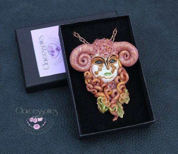Aries pendant / Aries necklace / Zodiac pendant / by claycessories
