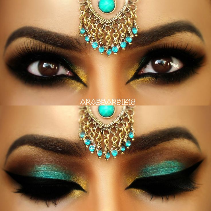 So stunning - lovely brown eyes, and golden brown skin, she wears Arabian style teal & gold head-jewel, plus thick black liner cuts across eyelid and black shadow, gold inner eye, teal on lids, brown upper shading. By Desert-Winds (aka arabbarbie18).
