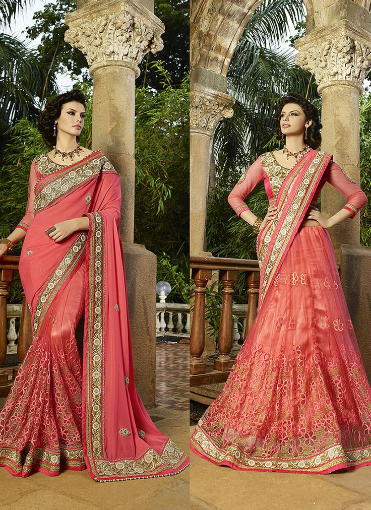 #Peach Colour #Net & #Georgette #Saree. Lovely #floral #embroidery and #exotic #colours come together to define this #beautiful #saree.  Contact to Buy : +91-9377111620