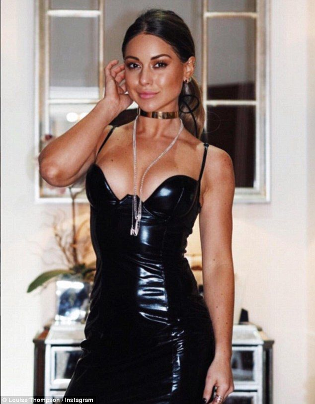 Body confident: Louise Thompson, 26, has shared her most racy Instagram post to date, slipping into an S&M-style PVC dress