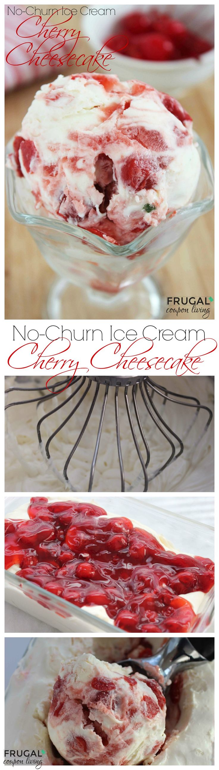 No-Churn Cherry Cheesecake Ice Cream Recipe.Homemade Ice Cream. Yum