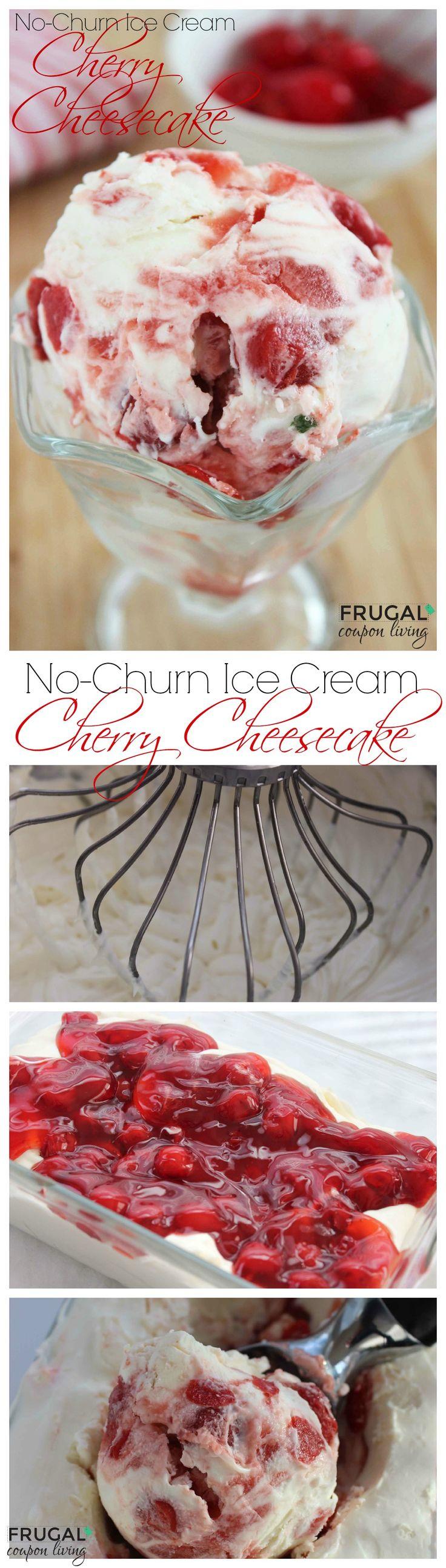 No-Churn Cherry Cheesecake Ice Cream Recipe.Homemade Ice Cream. Yum