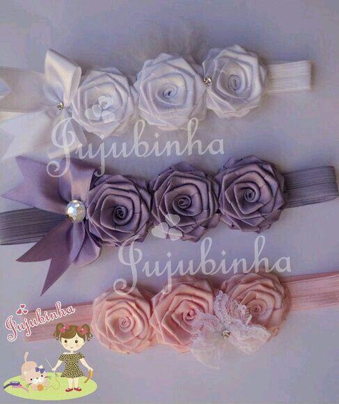 Twisted ribbon rose headband