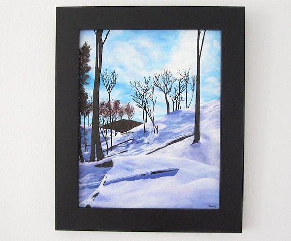 Canadian Winter - Original Acrylic Painting - Artist Anaïs www.AnaisArtShoppe.etsy.com