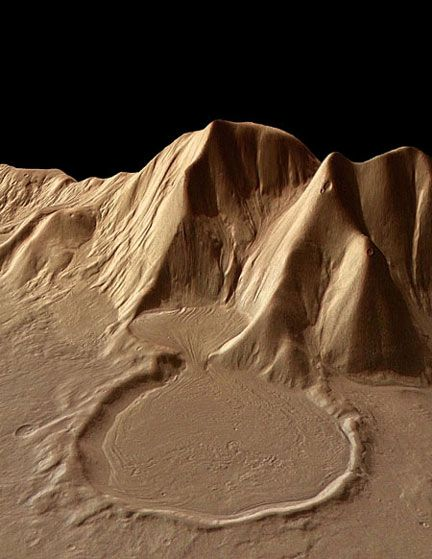 Mars is very dynamic. The shape and flow of this deposit near a Martian mountain almost 4 km. tall suggests ice-rich glacial movement. The image, taken on the eastern rim of the Hellas Basin, was made by the Mars Express High-Resolution Stereo Camera. Photo: European Space Agency | http://images.spaceref.com/news/2005/04-097.jpg