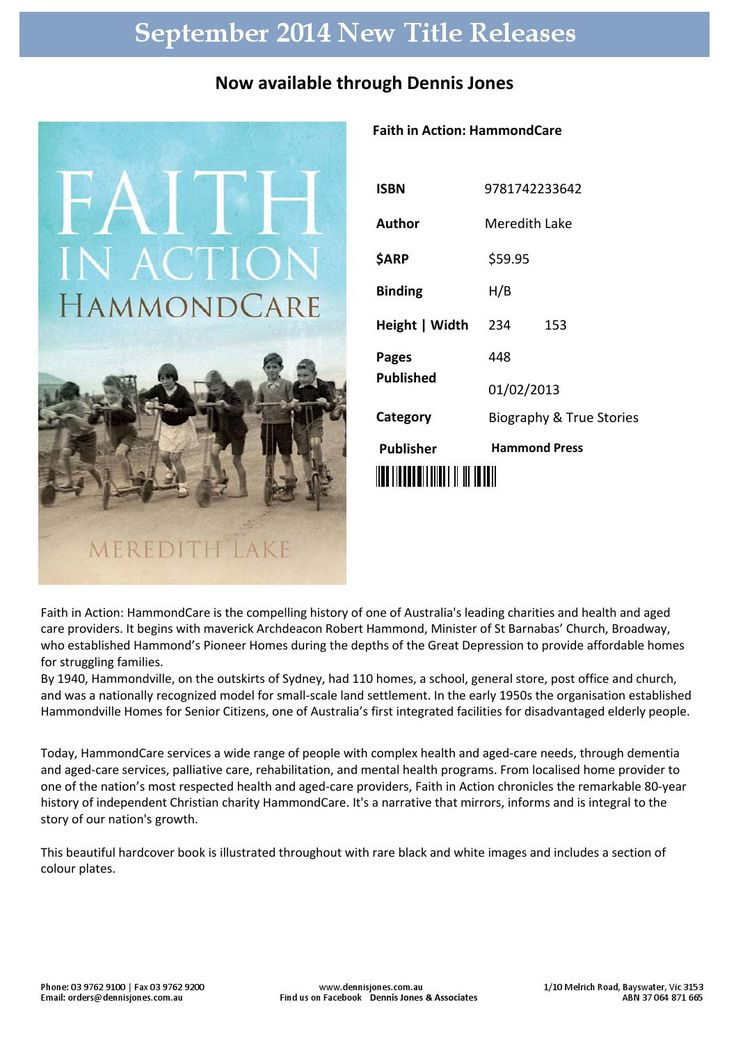 The popular, beautifullly designed and written Faith in Action: HammondCare is back in stock and available for booksellers from Dennis Jones and Associates and retail from HammondCare Media's online shops.