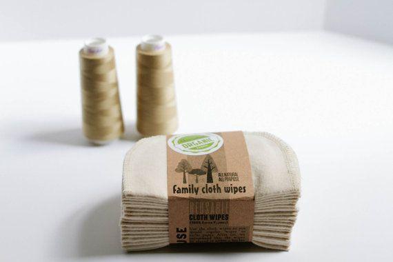 Organic Baby Wipes - Organic Flannel Cloth Wipes - Organic Wipes - Double Layer (Khaki Tread Edging)