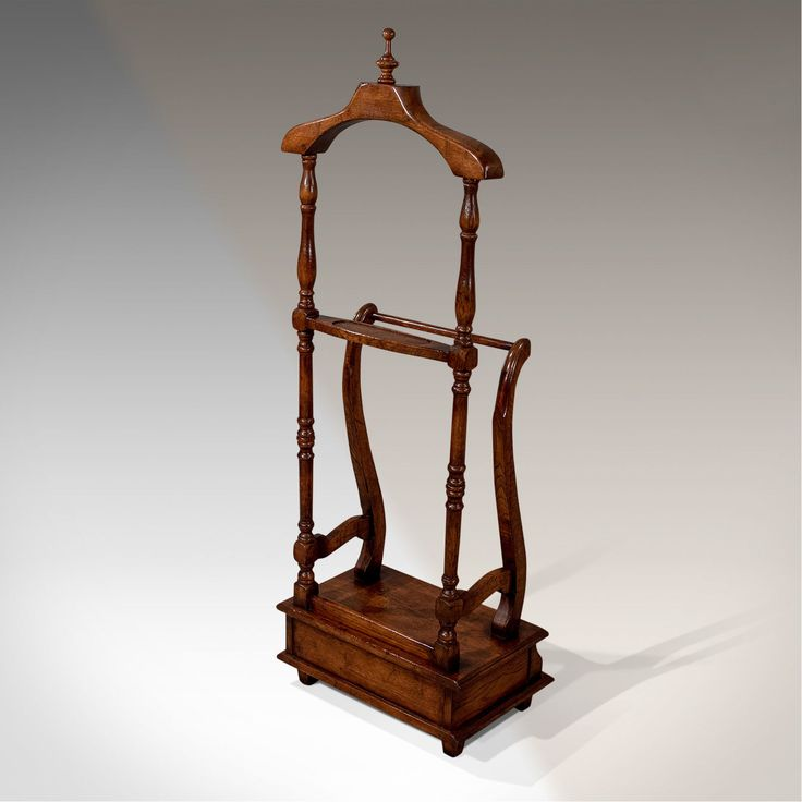 Antique Gentlemen's Valet Clothes Stand English Victorian Oak Fine Quality c1850